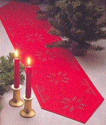 Permin Kits 685200 Hardanger Red Table Topper ~ 22 Count Red Hardanger