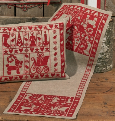 Permin Kits686224 ~ Christmas Spirit Table Runner (right) ~ 18 count Linen
