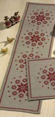 Permin Kits687296 ~ Star Tablerunner ~ 18 count Linen
