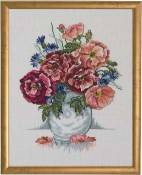 Permin Kits700309 ~ Roses ~ 26 count Linen
