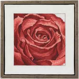 Permin Kits701150 ~ Red Rose ~ 26 count Linen