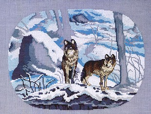 Permin Kits702126 ~ Wolves ~ 28 count Linen