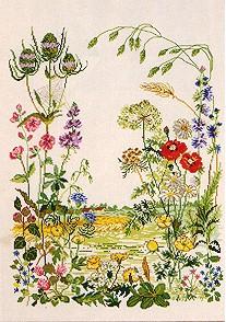 Permin Kits702316 ~ Floral Garden ~ 32 count Linen