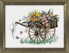 Permin Kits703121 ~ Cart With Flowers ~ 14 count Aida