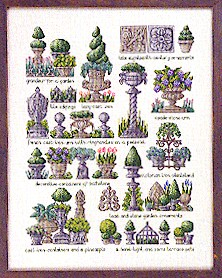 Permin Kits703435 ~ Potted Tree Sampler ~ 30 count Linen