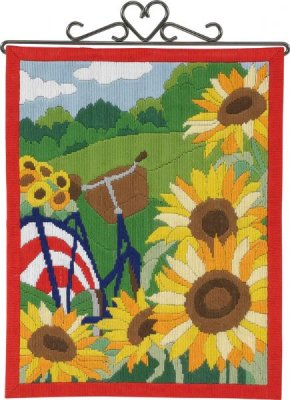 Permin Kits 704859 Sunflowers Bellpull ~ 14 Count Pre Printed Canvas