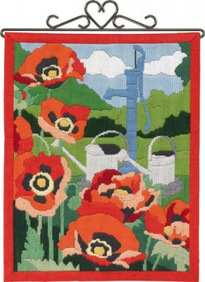 Permin Kits 704860 Poppies Bellpull ~ 14 Count Pre Printed Canvas