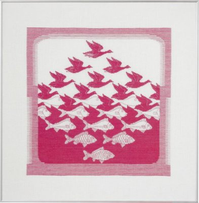 Permin Kits 705344 ~ Bird/Fish Pink ~ 26 Count White Linen