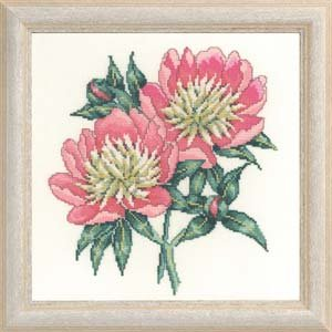Permin Kits705551 ~ Two Peony ~ 26 count Linen