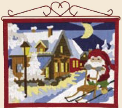 Permin Kits 705689 Elf With Sled Bellpull ~ 14 Count Pre Printed Canvas