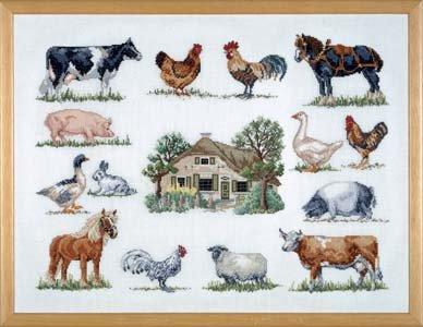 Permin Kits706420 ~ Farmhouse & Animals ~ 26 count Linen