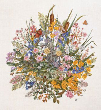 Permin Kits707300 ~ Waterflowers ~ 26 count Linen