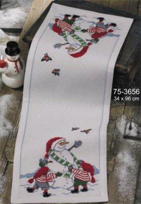 Permin Kits753656 ~ Build A Snowman Tablerunner ~ 8 count Aida