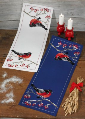 Permin Kits754622 ~ Bullfinch (blue) Tablerunner ~ 8 count Aida