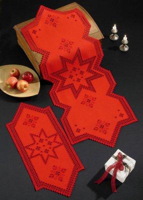 Permin Kits754629 ~ Star - Red Hardanger Tabletopper (back) ~ 22 count Hardanger
