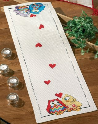 Permin Kits0754839 ~ Owls Table Runner ~ 8 count Aida