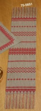 Permin Kits 755651 Red Border Table Runner ~ 18 Count Linen
