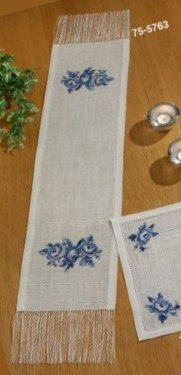 Permin Kits 755763 Blue Roses Table Runner ~ 18 Count Aida