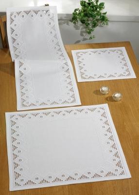 Permin Kits755876 ~ Hardanger White Table Runner (upper left) ~ 22 count Hardanger