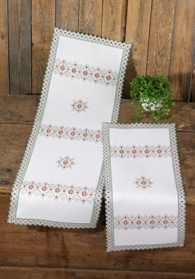 Permin Kits756739 ~ Hardanger Table Runner (left) ~ 22 count Hardanger