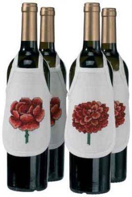 Permin Kits789309 ~ Flower Bottle Aprons ~ 14 count Aida