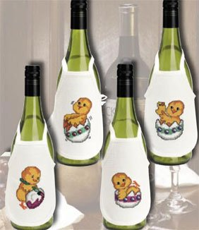 Permin Kits789570 ~ Chicken Wine Bottle Aprons ~ 14 count Aida