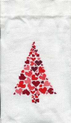 Permin Kits795256 ~ Christmas Tree Heart Bag ~ 14 Count Aida