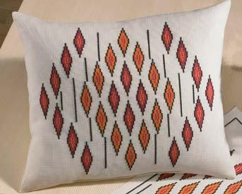 Permin Kits830645 ~ Modern Orange Pillow ~ 8 count Aida