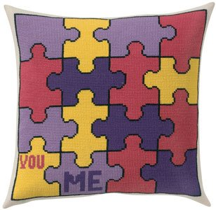 Permin Kits831311 ~ Puzzles Pillow ~ 8 count Aida