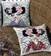 Permin Kits833820 ~ Blue Geisha Pillow (top) ~ 8 count Aida