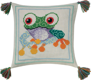 Permin Kits833876 ~ Frog Pillow ~ 8 count Aida