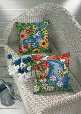 Permin Kits834148 ~ Blue Waterpump Pillow (top) ~ 8 count Aida