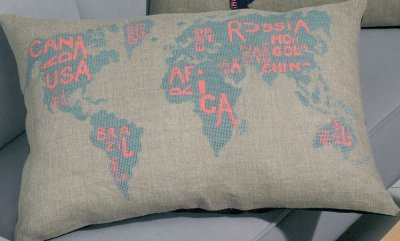 Permin Kits0834339 ~ Wold Map Grayblue ~ 18 count Aida
