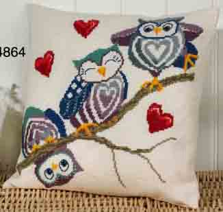 Permin Kits 834864 Owl On A Stick Cushion ~ 8 Count Aida