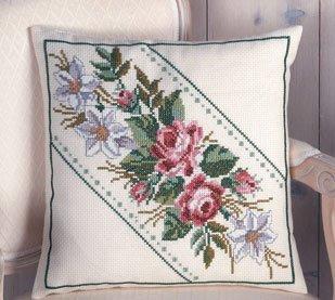 Permin Kits835724 ~ Flowers Pillow ~ 8 count Aida