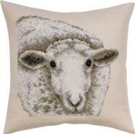 Permin Kits836104 ~ White Sheep Pillow ~ 8 count Ecru Aida