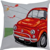 Permin Kits836117 ~ Red Fiat Pillow ~ 14 count Blue Aida