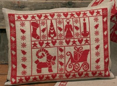 Permin Kits836224 ~ Christmas Spirit Pillow ~ 18 count Linen