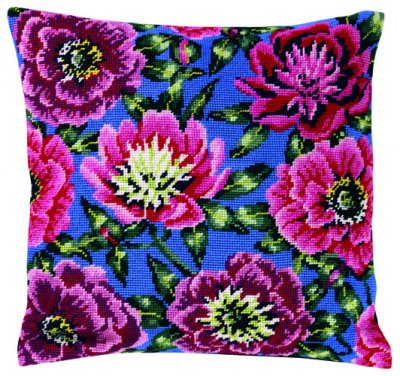 Permin Kits836300 ~ Pink Rose Pillow ~ Canvas