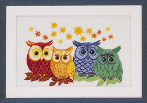 Permin Kits903303 ~ Colored Owls ~ 14 count Aida