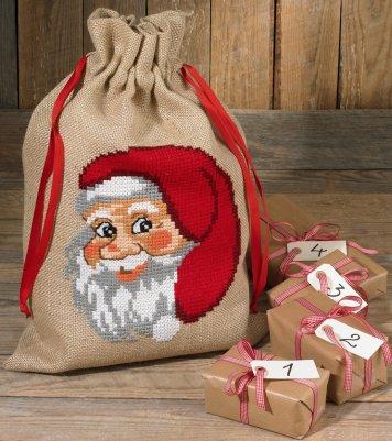 Permin Kits905217 ~ Santa Face ~ Gift Bag ~ 10 count Jute