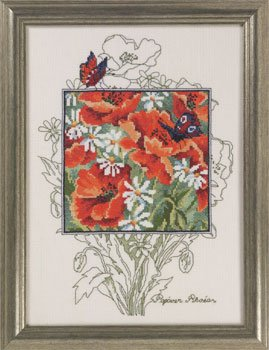 Permin Kits905362 ~ Poppies With Butterfly ~ 14 count Aida