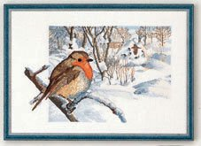 Permin Kits906111 ~ Robin On Branch ~ 18 count Aida