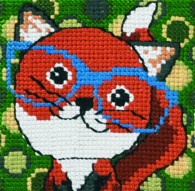 Permin Kits9123 ~ Fox With Glasses ~ 4 count Printed Canvas