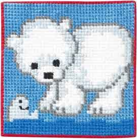 Permin Kits9163 ~ Polar Bear - Children's Kit ~ Canvas