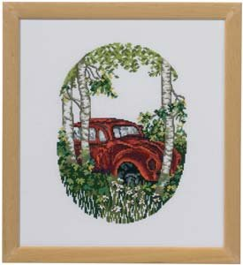 Permin Kits920371 ~ VW Car In Forest ~ 16 count Aida