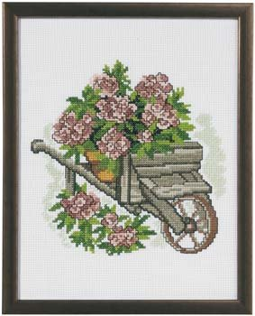 Permin Kits920372 ~ Cart With Flowers ~ 8 count Aida