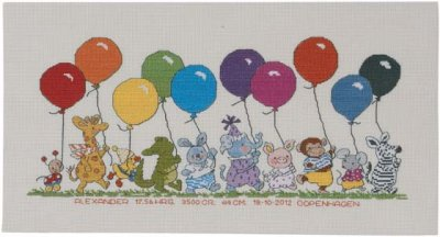 Permin Kits920396 ~ Animals With Balloons ~ 16 count Aida