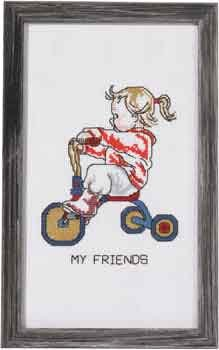 Permin Kits921184 ~ Girl On Tricycle ~ 14 count Aida