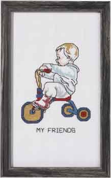 Permin Kits921185 ~ Boy On Tricycle ~ 14 count Aida